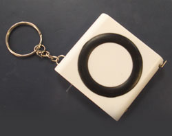Keyring with tape measure & torch