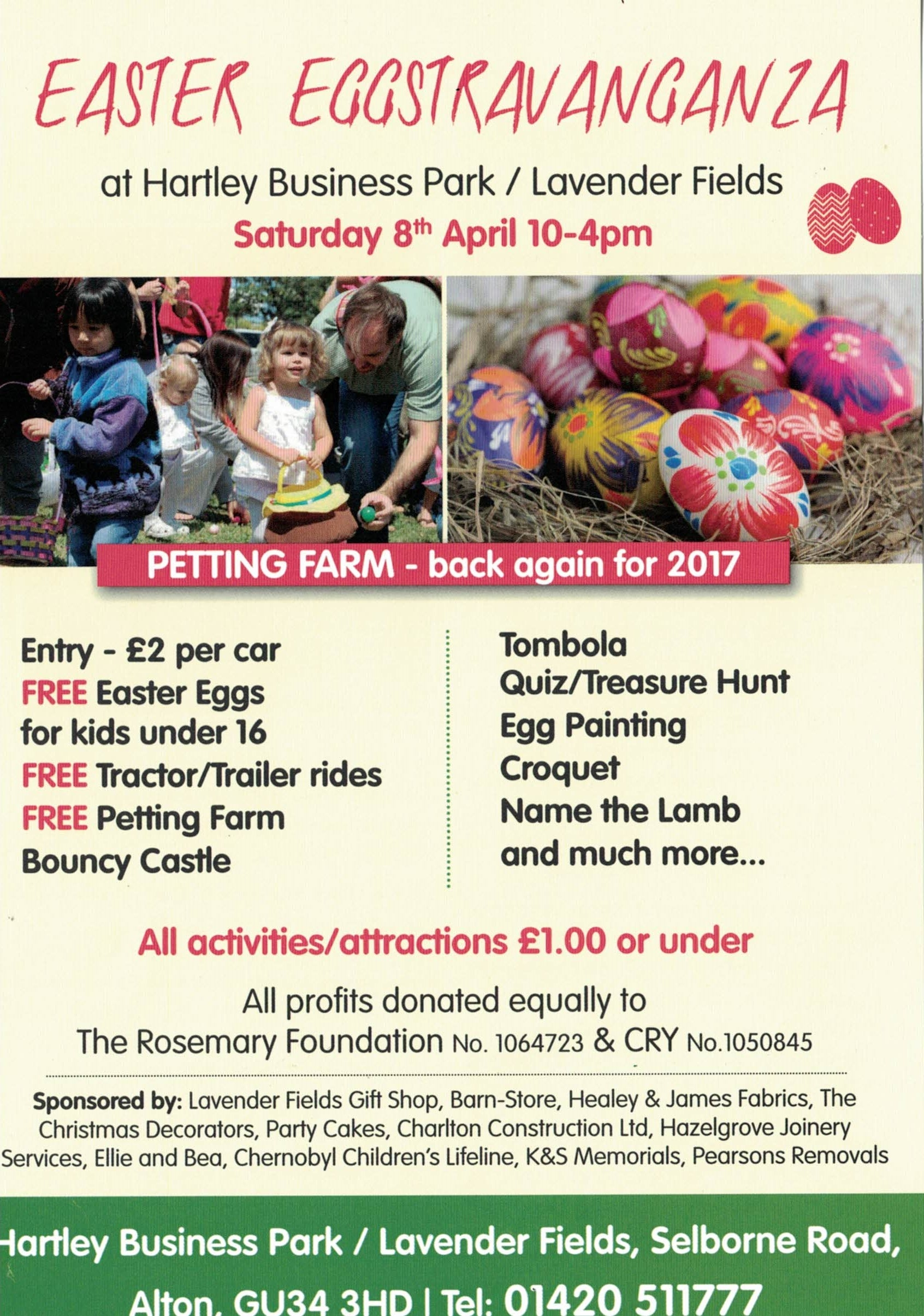 Easter Eggstravaganza at Hartley Park Farm / Lavender Fields - The Rosemary  Foundation