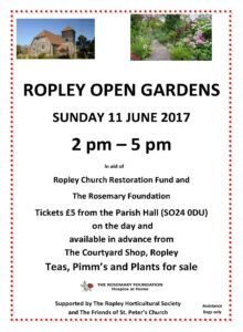Poster for ROPLEY OPEN GARDENS V3Portrait210417